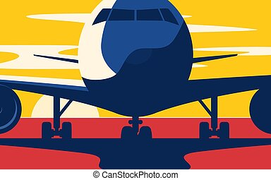 Closeup. Flat style vector illustration of the airliner at sunse