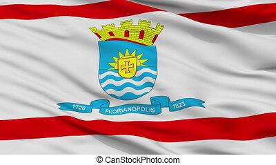 Closeup Florianopolis city flag, Brasil - Florianopolis...