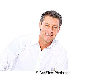 closeup, fondo, ritratto, uomo, sorridente, anziano, bianco