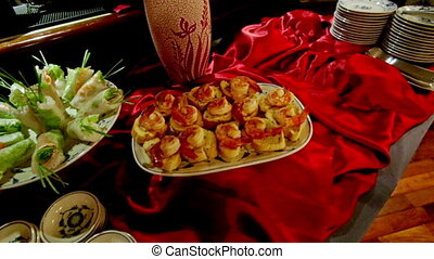 Closeup Food on Plates Dishes on Red Tablecloth for Buffet -...