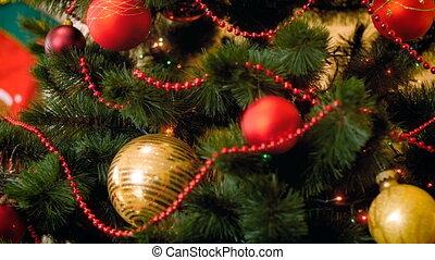 Closeup footage of Christmas lights glowing on Christmas...