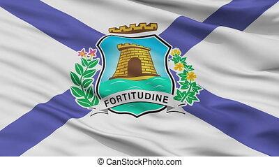 Closeup Fortaleza city flag, Brasil - Fortaleza closeup...
