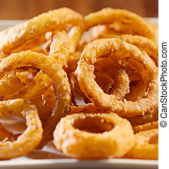 closeup, foto, anelli, cipolla, mucchio