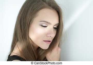 closeup., foto, de, un, atractivo, mujer joven