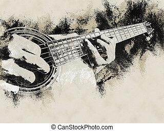 closeup, foto, van, een, akoestische guitar, gespeelde,...