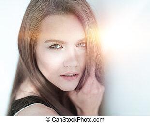 closeup., fotografia, od, na, pociągający, młoda kobieta