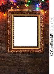 closeup, fotolijst, kerstmis