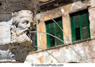 Closeup Fountain of Madonna Verona - Italy - Detail of the...