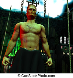 Closeup Frankenstein Monster - Closeup portrait of the...