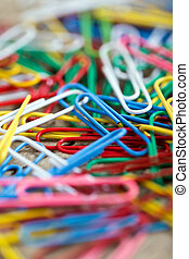 Closeup from a lots of colorful paper clips