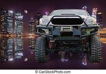 Closeup front of off road truck with beautiful night...