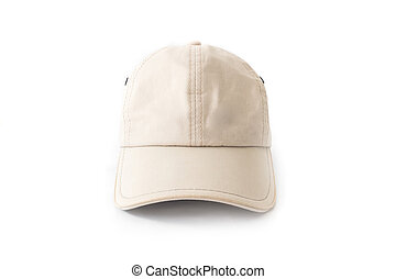 Closeup front view of white hat cap on white background, fashion concept