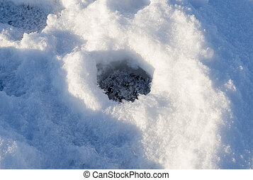 Closeup frozen fishing ice hole winter lake shadow - Closeup...
