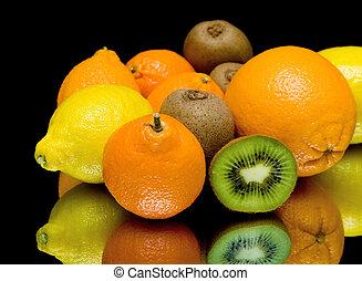 closeup, fruta, experiência preta