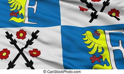 Closeup Frydek Mistek city flag, Czech Republic - Frydek...