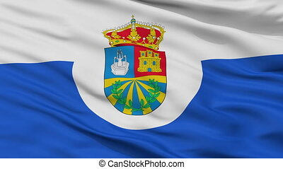 Closeup Fuenlabrada city flag, Spain - Fuenlabrada closeup...