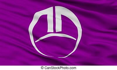 Closeup Fujioka city flag, prefecture Gunma, Japan - Fujioka...