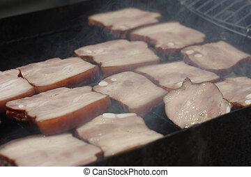 closeup, fuoco, carbonella, image., carne, barbecuing