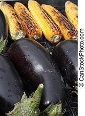 closeup, fuoco, carbonella, image., verdura, barbecuing
