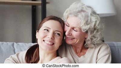 closeup, générations, sofa, portrait, gai, âge, liaison, ...