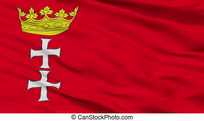 Closeup Gdansk city flag, Poland - Gdansk closeup flag, city...