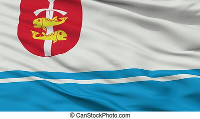 Closeup Gdynia city flag, Poland - Gdynia closeup flag, city...