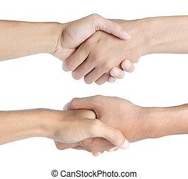 closeup, gens serrant main