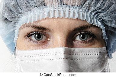 closeup, gesichtsmaske, doktor