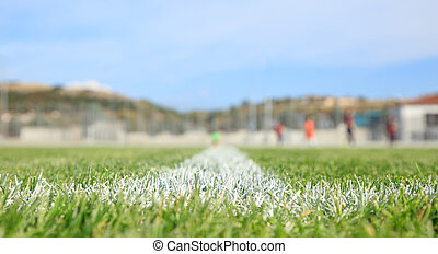 closeup, geverfde, voetbal, grens, lijn, groene, field.