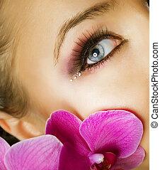 closeup, gezicht, makeup., mooi