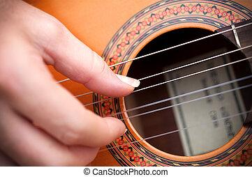 closeup, gitara, ręka, gitarzysta
