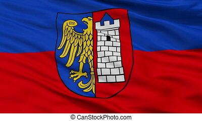 Closeup Gliwice city flag, Poland - Gliwice closeup flag,...