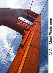 Closeup Golden Gate Bridge Support