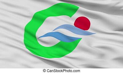 Closeup Goto city flag, prefecture Nagasaki, Japan - Goto...