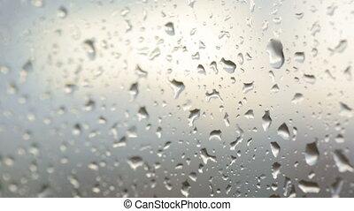 closeup, gouttes pluie, verre