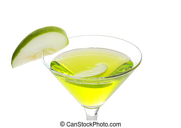 closeup green apple martini