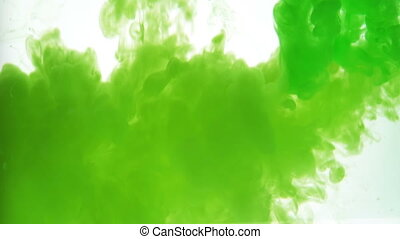 Closeup green ink over white background - Closeup green ink...