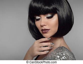 closeup, grigio, stile, moda, nails., moda, trucco, isolato, donna, capelli, fondo., labbra, brunetta, nero, manicure, ritratto, polacco, ragazza, brillare, muovere a scatti, hairstyle.