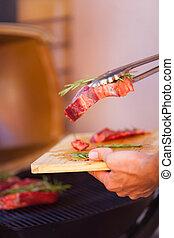 closeup, griglia, fresco, preparare, bistecca, carne