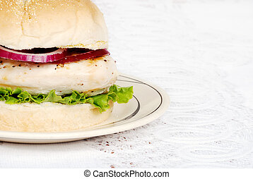 closeup grilled chicken burger