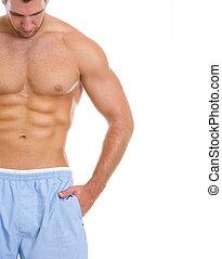 closeup, groot, spierballen, abdominaal, man