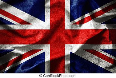 Closeup grunge of ruffled British flag