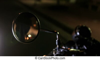 Closeup Guy Reflection in Motorcycle Mirror Hands on Controls