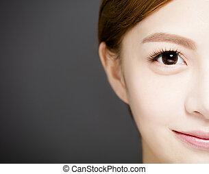 closeup half smiling woman face with Beautiful eyes