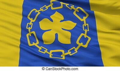 Closeup Hamilton city flag, Canada - Hamilton closeup flag,...