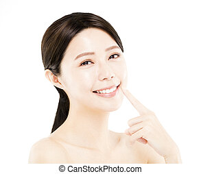 closeup happy young Woman beauty face