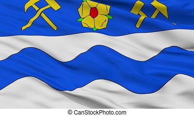 Closeup Havirov city flag, Czech Republic - Havirov closeup...