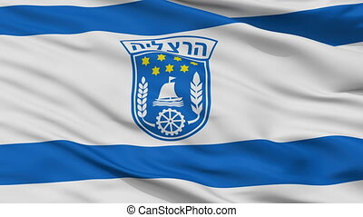 Closeup Herzliya city flag, Israel - Herzliya closeup flag,...