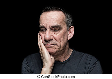 Portrait of Sad Unhappy Man on Black Background