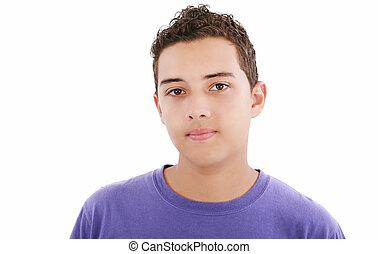 closeup, hispanique, jeune homme, headshot